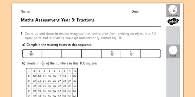 Year 3 Maths Assessment: Fractions Term 1 - fraction, numbers, assessment