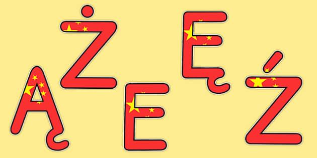 Litery na gazetkę Flaga chińska - polskie znaki, chiński, rok