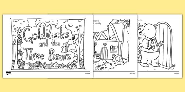 Goldilocks and the Three Bears Mindfulness Colouring Story - goldilocks, three bears, mindfulness, colouring, story