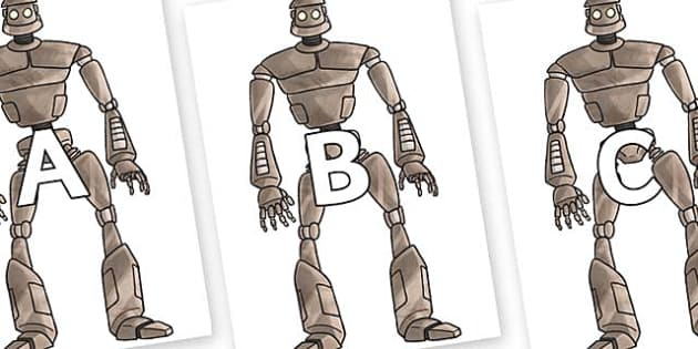 A-Z Alphabet on The Iron Man - A-Z, A4, display, Alphabet frieze, Display letters, Letter posters, A-Z letters, Alphabet flashcards