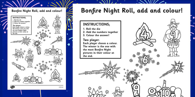 Bonfire Night Colour and Roll Worksheet - fireworks, games, dice
