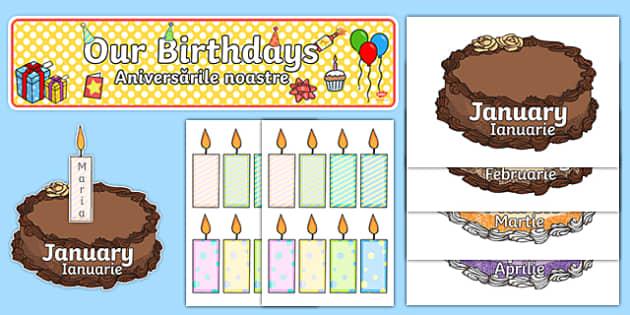 Editable Birthday Display Set (Cakes) Romanian Translation-Romanian-translation