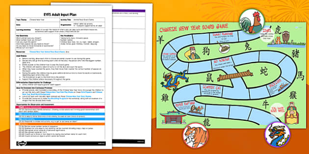 Chinese New Year Board Game EYFS Adult Input Plan and Resource Pack - game, activity, chinese new year, board, eyfs, pack