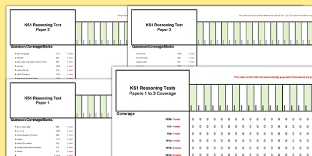 KS1 Reasoning Practice Tests Assessment Spreadsheet - Year 2, KS1, Key Stage 1, Reasoning, assessment, record, spreadsheet, tests