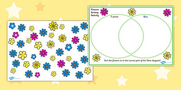 Venn Diagram Flower Sorting Activity - venn diagram, venn diagram sorting activity, flower sorting activity, charts, graphs, ks2 maths, ks2 numeracy