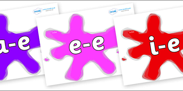 Modifying E Letters on Splats - Modifying E, letters, modify, Phase 5, Phase five, alternative spellings for phonemes, DfES letters and Sounds