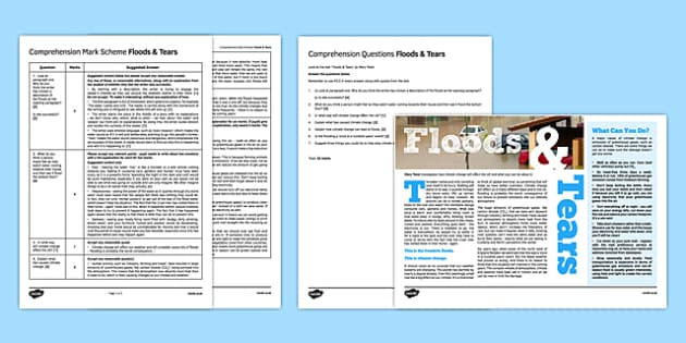 Comprehension Practice Pack Floods - Reading, non-fiction, comprehension, PEE