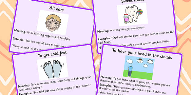 Body Idioms Meaning Cards Set 2 - idioms, body, meaning, cards