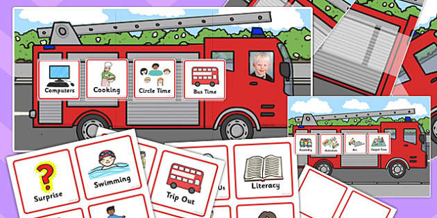 Reception Fire Engine Themed Individual Visual Timetable Pack