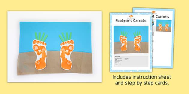 Footprint Carrots Craft Instructions - foot print, carrot, craft