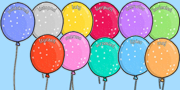 Miesiące na balonach do edycji po polsku