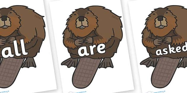 Tricky Words on Beavers - Tricky words, DfES Letters and Sounds, Letters and sounds, display, words