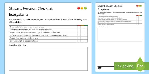 Ecosystems Student Revision Checklist - Student Progress Sheet (KS3), ecosystems, bioaccumulation, food chains, food webs