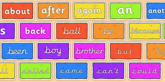Word Wall Vocabulary On Bricks (Multicolor) - KS1, CLL, Communication language and literacy, Display, Key words, high frequency words, foundation stage literacy, DfES Letters and Sounds, Letters and Sounds, spelling