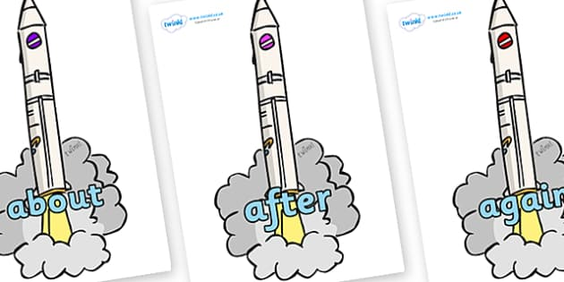 KS1 Keywords on Launching Rockets - KS1, CLL, Communication language and literacy, Display, Key words, high frequency words, foundation stage literacy, DfES Letters and Sounds, Letters and Sounds, spelling