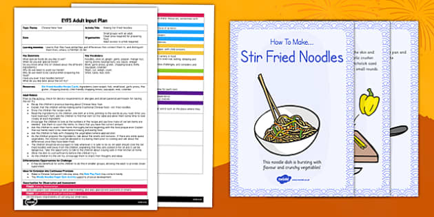 Making Stir-Fried Noodles EYFS Adult Input Plan and Resource Pack - plans, food, stir-fried noodles, eyfs, pack
