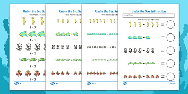 Under the Sea Subtraction Worksheet - numeracy, numbers