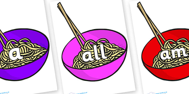 Foundation Stage 2 Keywords on Chinese Noodles - FS2, CLL, keywords, Communication language and literacy,  Display, Key words, high frequency words, foundation stage literacy, DfES Letters and Sounds, Letters and Sounds, spelling