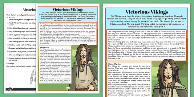Victorious Vikings Differentiated Reading Comprehension Activity - comprehension