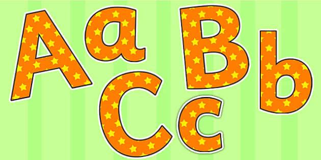 Orange and Yellow Stars Small Lowercase Display Lettering - stars, display lettering, display letters, lettering, display alphabet, lettering for display