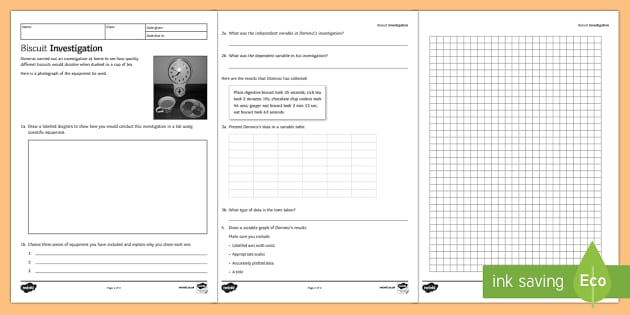 Best Biscuits Scientific Skills Homework Activity Booklet  - Homework, variables, data handling, graph, table, science skills, skill, scientific inquiry, results