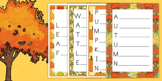 Autumn Acrostic Poem - poems, poetry, seasons, weather, write