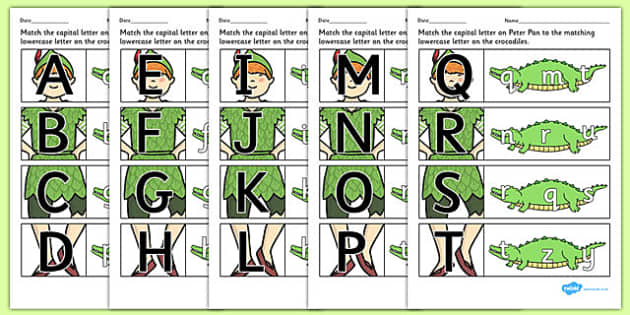 Peter Pan Themed Capital Letter Matching Worksheet - letter