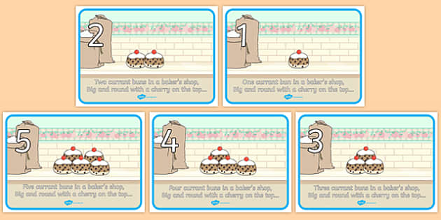 5 Currant Buns Visual Aids - Number rhyme, subtraction, currant bun, buns, currant, nursery rhyme, numeracy, numbers, counting, foundation stage numeracy