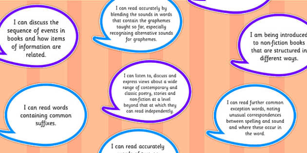 2014 Curriculum Y2 English Reading Assessment I Can Speech Bubbles