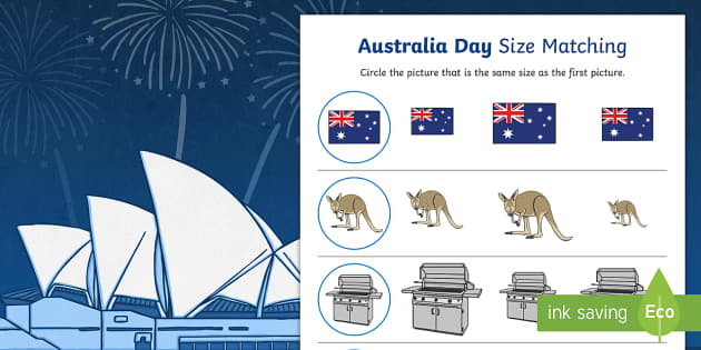 Australia Day Size Matching Worksheets - australia, day, size