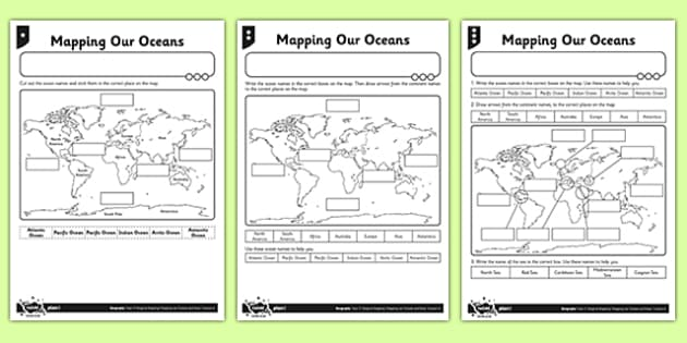 Differentiated Mapping Our Oceans Activity Sheet - differentiated, mapping, oceans, activity, worksheet