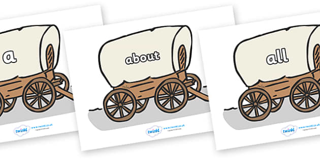 100 High Frequency Words on Wagons - High frequency words, hfw, DfES Letters and Sounds, Letters and Sounds, display words