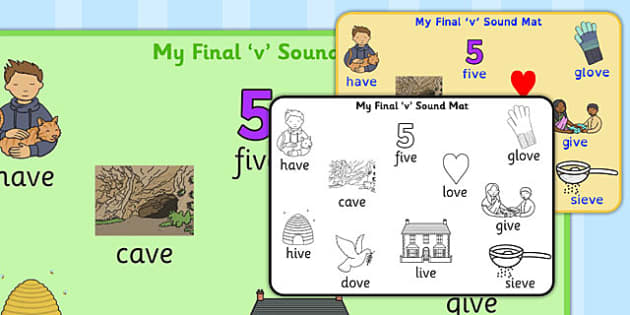 Final 'V' Sound Word Mat - final v, sound, word mat, word, mat