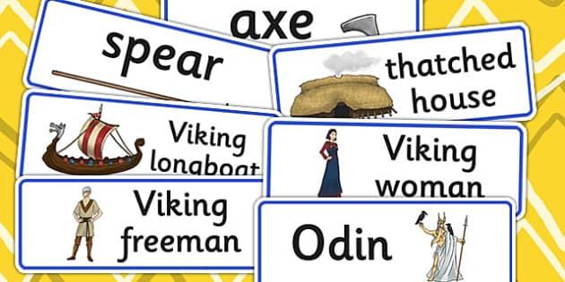 Vikings Word Cards - viking, keywords, visual aid, history, cards