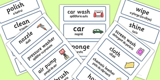 Car Wash Role Play Word Cards Romanian Translation - romanian