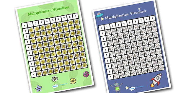 Multiplication Visualiser - multiplication, multiplication chart, space themed multiplication visualiser, flower themed multiplication visualiser, ks2