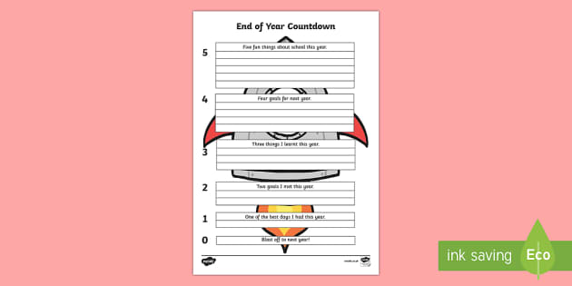 End of Year Countdown Writing Activity Sheet