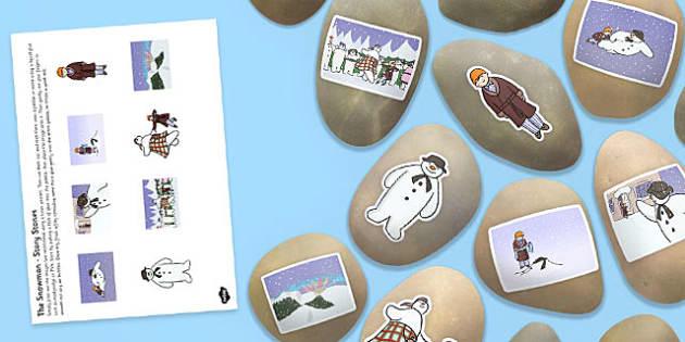 Snowman Story Stone Image Cut Outs - snowman, story stone, image, cut outs