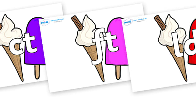 Final Letter Blends on Ice Cream and Lollies - Final Letters, final letter, letter blend, letter blends, consonant, consonants, digraph, trigraph, literacy, alphabet, letters, foundation stage literacy