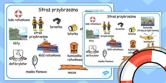 Plansza ze slownictwem Straz przybrzezna po polsku - szkola , Polish