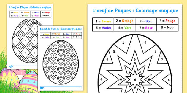 L'oeuf de Pâques : Coloriages magiques - french, colouring, sheets, colouring by numbers, colour by number, easter, easter numbers, easter colouring, easter colouring sheets, counting, numeracy, colour recognition, colouring activity
