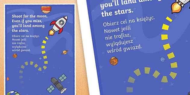 Shoot for the Moon Motivational Poster Polish Translation - polish, motivational, poster