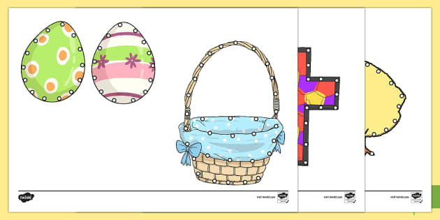 Easter Threading Cut-Outs - threading cards, fine motor skills, activities, junior infants, senior infants, early years, foundat