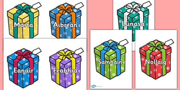 Months on Birthday Presents Gaeilge - gaeilge, months, birthday, presents, display