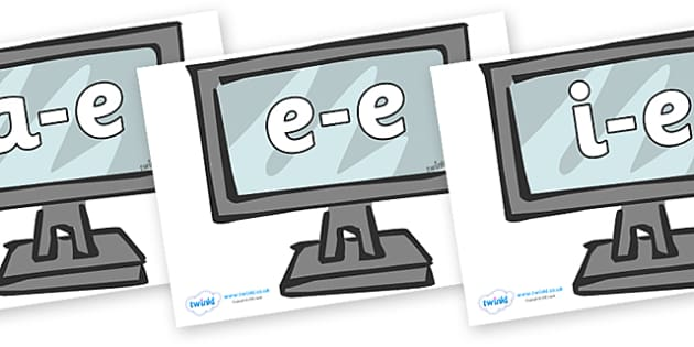 Modifying E Letters on Monitors - Modifying E, letters, modify, Phase 5, Phase five, alternative spellings for phonemes, DfES letters and Sounds