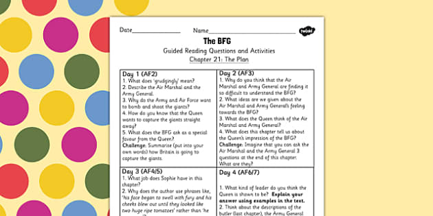 BFG Guided Reading Questions Chapter 21 - bfg, guided reading