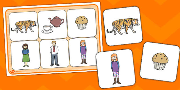 The Tiger Who Came To Tea Matching Cards Board - activity, sen picture