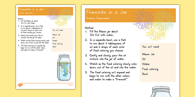 Fireworks in a Jar Science Experiment - 4th of July activities, usa, america, fireworks, jar, science experiment