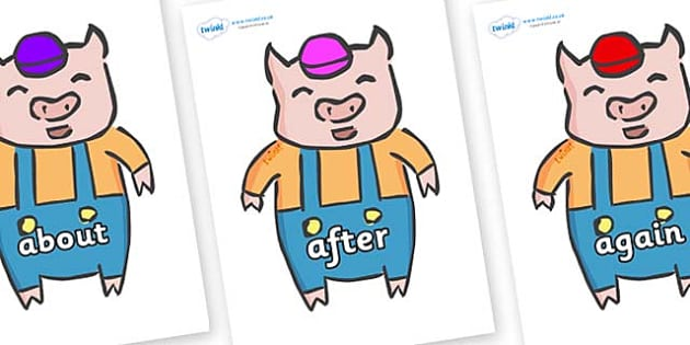 KS1 Keywords on Little Pig - KS1, CLL, Communication language and literacy, Display, Key words, high frequency words, foundation stage literacy, DfES Letters and Sounds, Letters and Sounds, spelling