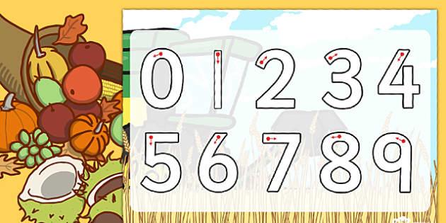 Harvest Number Formation Worksheet - harvest, number, worksheet